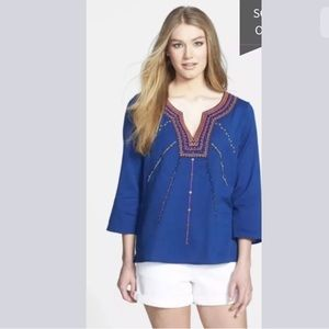 Lucky Brand Sodalite Embroidered Blouse